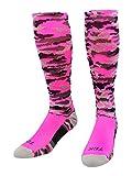 TCK Sports Elite Performance Over The Calf Camo Socks (Hot Pink Camo, Medium)