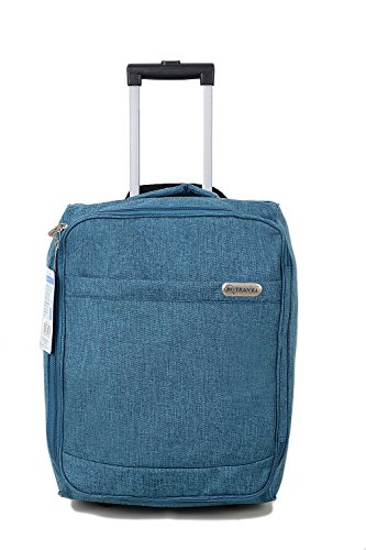 iN Travel Luggage Trolley Suitcase with Wheels, Cabin Bag/Hand Luggage Flight Bags for Travel 50 x 35 x 25 cm (Blue)