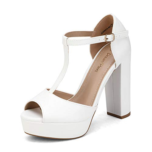 Dream Pairs Zapatillas Moda Tacón escarpín Sandalias Correa Stiletto Peep-Toe Mujer JESSICA-02 PU Blanca 40 EU / 9 US