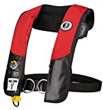 Mustang Survival - HIT Inflatable PFD with Sailing Harness for Adults (Red & Black - One Size Fits All) Designed for Sailors, Auto Hydrostatic and Fluorescent Inflation Cell
