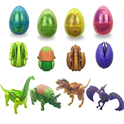Anditoy Dinosaur Deformation Toys in Plastic Easter Eggs for Kids Boys Girls Toddlers Easter Gifts Basket Stuffers Fillers (4 Pack)
