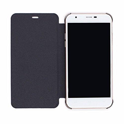 PREVOA ® 丨Flip PU < avec Plastique Dur Case Inside > Coque Protection Case pour OUKITEL U7 Plus 5.5 Pouces Smartphone - Darkblue