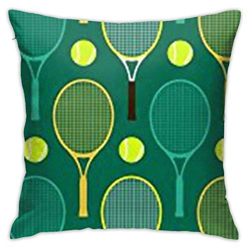 WH-CLA Fundas De Almohada De Tiro Azul Y Verde Raquetas De Tenis Funda De Cojín Sofá Cuadrado Impreso Silla Funda De Almohada Moda Decorativa Decoración para El Hogar Funda De Almohada 4