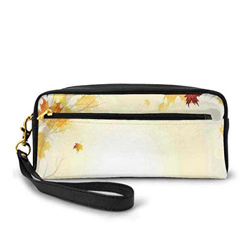 Pencil Case Pen Bag Pouch Stationary,Soft Image of Faded Shedding Fall Leaves from Tree Motion in Nature Concept,Small Makeup Bag Coin Purse