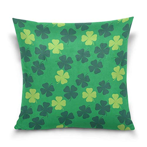But why miss Throw Pillow Case Decorative Cushion Cover Square Pillowcase, St. Patrick's Day Green Shamrock Irish Leaves Sofa Bed Pillow Case Cover(18x18inch) Twin Sides
