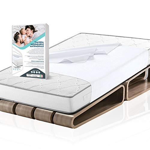 TwoSteps Traversa Impermeabile Matrimoniale/CopriMaterasso per Bambini Adulti Anziani/CopriDivano per Animali/Antiacaro Assorbente Adatto per Lavatrici e Asciugatrici