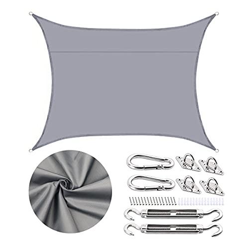 shenchia Toldo rectangular para jardín, impermeable, 95 % de protección solar, con kit de fijación de cuerda, para exteriores, patio, fiesta, camping (2,5 x 3 m, gris)