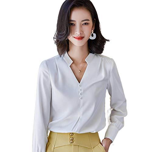 Camisas Amarillas Mujeres Manga Larga Satén Otoño Temperamento V Cuello Casual Gasa Blusas Oficina Señoras Formal Trabajo Tops