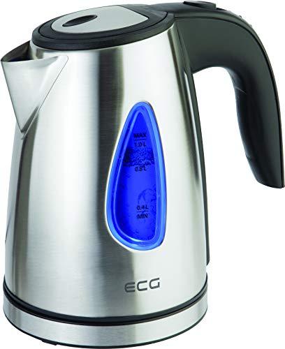 ECG RK 1040 Wasserkocher, 1500 W, Drehbar um 360°, Abwaschbarer Filter, 1.0 l, Edelstahl