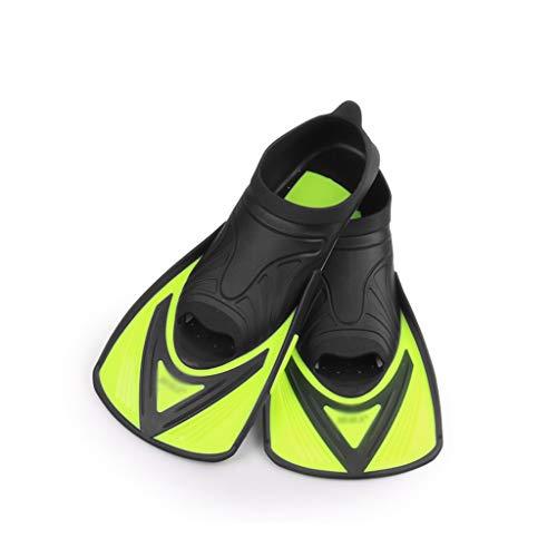 KQHSM Breve Aletas Entrenamiento de natación Hijos Adultos Equipo de Snorkel Freestyle braza Mariposa Espalda Aletas de Buceo (Color : Yellow, Size : 40-41)