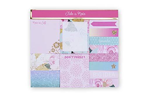 Tri-Coastal Design - Set di Sticky Notes - Blocchetti di Foglietti Adesivi Riposizionabili Decorati e Colorati - Ogni tipo di Blocco ha una Stampa Multicolore Diversa - 600 foglietti (pink floral)