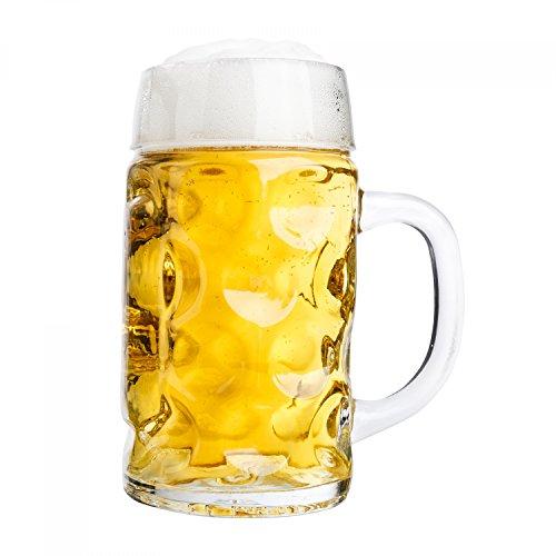 Van Well jarra de medio litro, graduado a 0,5L, jarra de cerveza con asa, vaso de cerveza, apto para lavaplatos, se presta perfectamente para la gastronomía