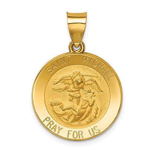 14ct geel goud holle satijn rug gepolijst en satijn sint-janskruid medaille hanger