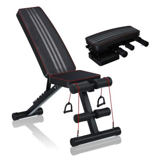 Verstellbares Gewichtheben-Bett, Multifunktionsgewichtungsbett für Ganzkörperübung, faltbarer Wohnung/Neigung/Abwärts