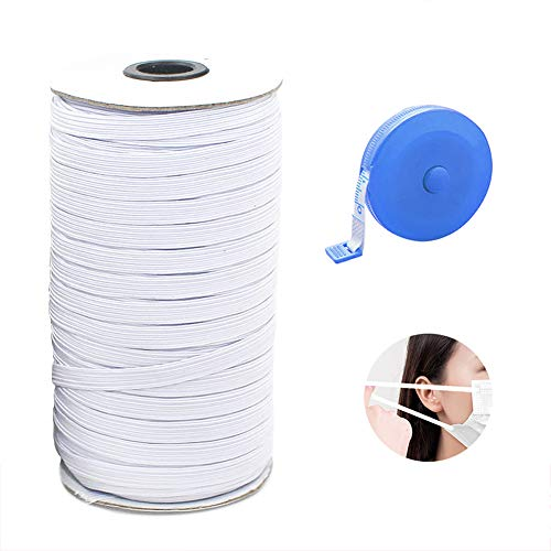 Elastic Cord for Masks,Elastic Band 70 Yard 1/4 Inch White and 1pcs Free Tape Measure