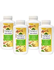 Timely - Polvos de talco para las irritaciones y la sudoración (pack de 4 x 100 g)
