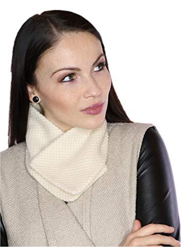 prettystern Donna 100% cachemire lana sciarpa corta Fazzoletti da collo Colletto ricamato in Cashmere bianco crema