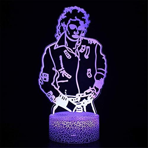 Michael Jackson 3D LED lámpara de ilusión de luz nocturna lámpara de ilusión con control remoto 16 colores que cambian de Navidad, regalo de cumpleaños para niño niña