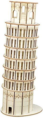 ZT Bloque de construcción, Edificio Torre inclinada de Pisa Model Building Block Set 105 + PCS Nano Mini Blocks DIY Juguetes, Puzzle 3D DIY Juguete educativo, DIY Puzzle de madera tridimensional jugue