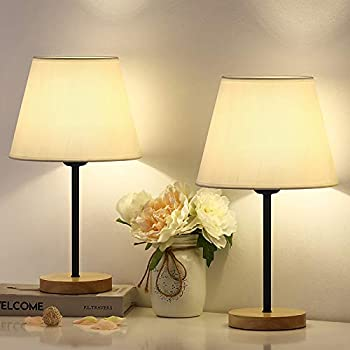 Bedside Table Lamps Sets of 2 Modern Nightstand Lamp Simple Bedside Desk Lights with White Fabric Shade and Wooden Base for Bedroom Living Room Office Kids Room