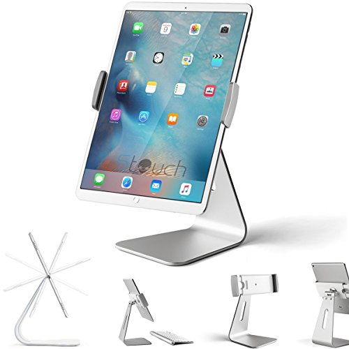 """Stouch iPad Pro Tablet Holder Stand, 360° Rotatable Aluminum Alloy Desktop Holder Tablet Stand Compatible for Samsung Galaxy Tab Pro S, 2020 iPad Pro10.5 9.7"""" 12.9'' iPad Air Surface Pro 4 Kiosk POS"""