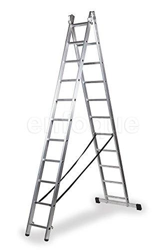 ALTIPESA Escalera Profesional de Aluminio transformable Apoyo-Tijera con Base un Acceso 2 x 11 peldaños Serie bis