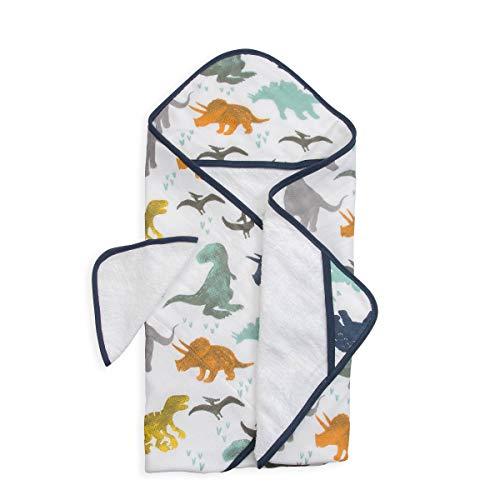 Little Unicorn - Cape de bain & Gant de toilette coton - Dino Friends Set, 1 pack