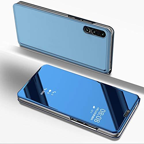 Custodia Huawei P20 Lite Specchio Portafoglio Libro Trasparente Cover Flip Pelle Verticale Pieghevole Rigida Electroplate Antiscivolo AntiGraffio Guscio con Supporto Funzione per Huawei P20 Lite-Blu