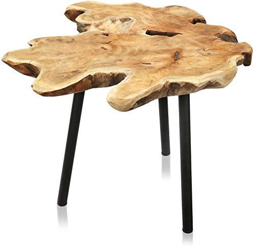 com-four® Rustikaler Premium Teak Beistelltisch - Design Teakholz - Tischplatte aus massiver Baumscheibe gefertigt - Couchtisch unikat aus unbehandeltem Holz für Wohnzimmer, Schlafzimmer