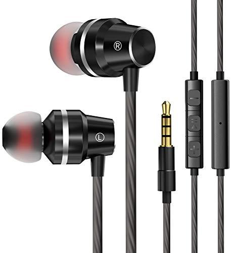 Auriculares con Cable con Micrófono y Control de Volumen, Adecuados para Dispositivos con Conectores 3.5, como Teléfonos Móviles, Computadoras Portátiles y MP3