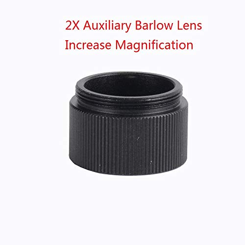 2X Auxiliary Objective Barlow Lens Double Magnification for 100X/120X/150X Zoom Monocular Zoom C-Mount Adapter