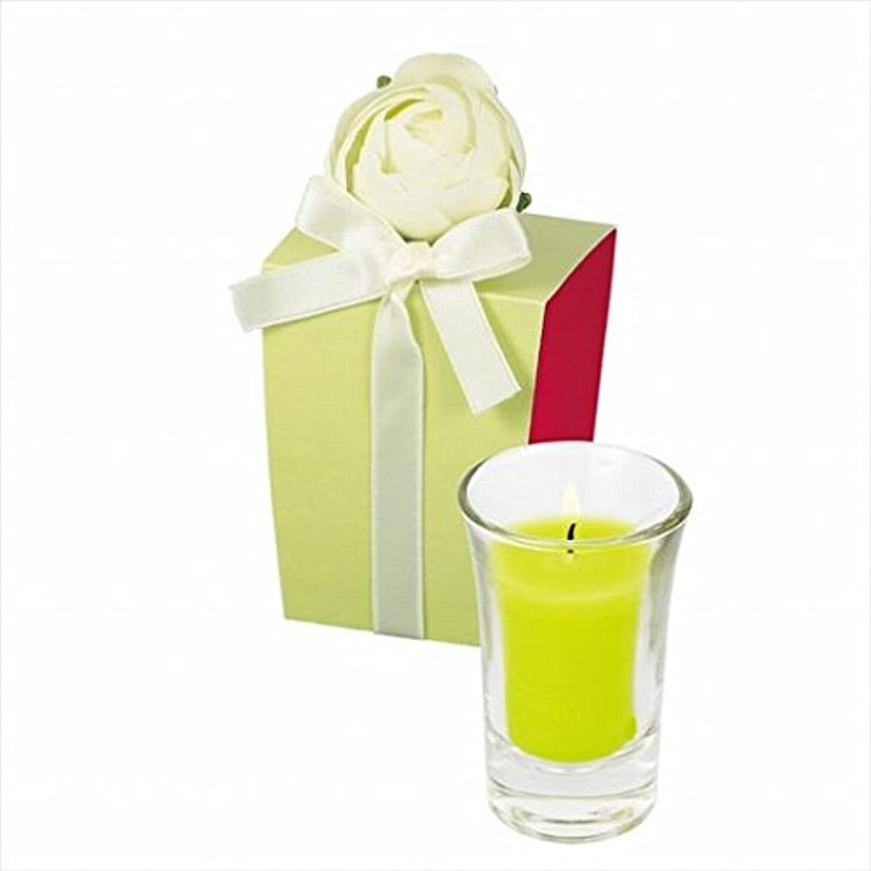 剪断印刷する新しさカメヤマキャンドル(kameyama candle) ラナンキュラスグラスキャンドル 「 ライトグリーン 」