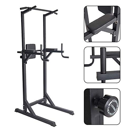 Livebest Power Tower Heavy Duty Adjustable Pull Up Bar Tower Multi-Function Strength Training Dip Stand Workout Station Fitness Equipment for Home Gym …