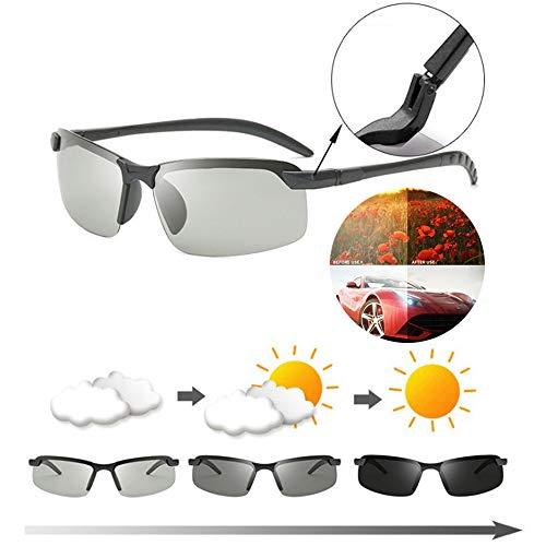 Heren vissen gepolariseerde meekleurende zonnebrillen, verkleurde antireflecterende mannelijke zonnebril, heren damesovergangslens voor dag- en nachtzicht rijden (B)