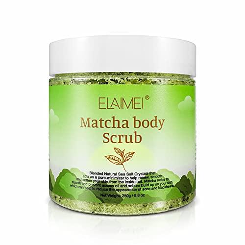 Matcha-Körperpeeling - 100% natürlicher Grüntee-Gesichts-Körper- und Fußpeeling mit Peeling mit Salz aus dem Toten Meer spendet Feuchtigkeit, nährt und glättet die Haut