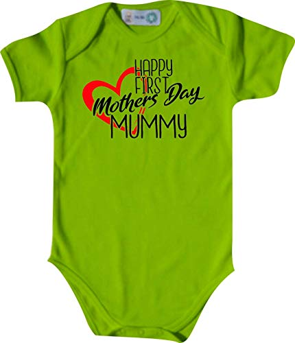 Shirtinstyle Body Happy First Mothers Día Mummy, Manga Corta Body de Bebé, Bebé, Nacimiento, Bautizo, Pelele - Lima, 74-80