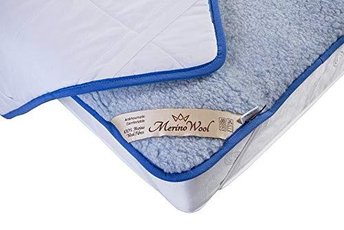 Merino Wool BLUE Natural Bedding Wool & Cotton Mattress Topper Cot Bed Cover , Bed Pad Sheet Natural Product onder laken matrasbeschermer wieg onder deken. Voor baby, zuigeling, peuter, kind, omkeerbaar onder deken + hoekriemen