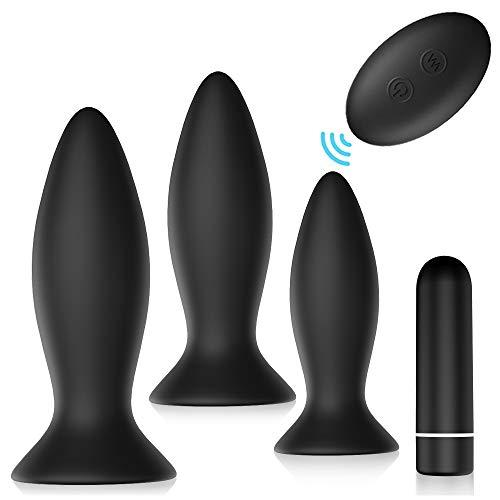 Plug Anạlés Vibrạdór Kit (Ø33mm, Ø36mm &Ø55mm) NESTORM Vibrạdórés de Cóntról Rémótó con 9 Modos de Vibración Juguétés Séxual para Mujér Hombré Paréjạs, 3PCS (Clásico)