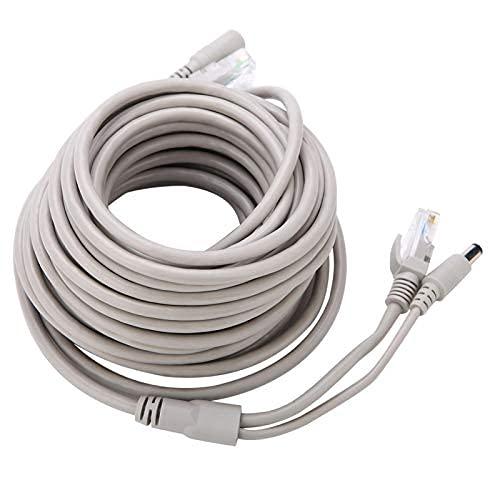 EVTSCAN 5M/10M/15M/20M RJ45 + DC Ethernet CCTV Cable para cámaras IP Sistema NVR 10Mbps/100Mbps(20M)