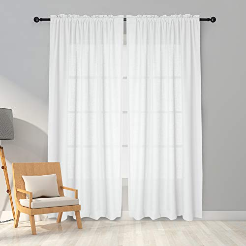 Melodieux White Semi Sheer Curtains 84 Inches Long for Living Room - Linen Look Bedroom Rod Pocket Voile Drapes, 52 by 84 Inch (2 Panels)