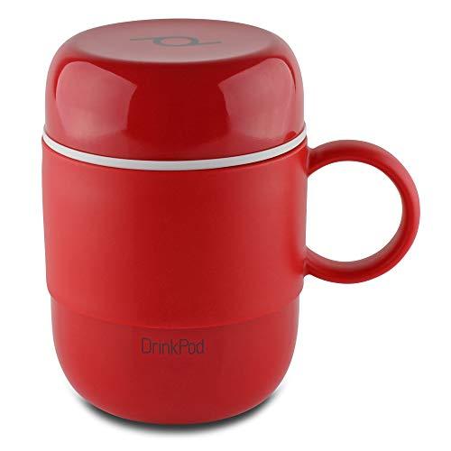 Pioneer DrinkPod mit Griff Isolierbecher aus Edelstahl 0,28 L Doppelwandig Thermobehälter 6 Stunden Heiß 24 Stunden Kühl Auslaufsicher BPA-Frei - Rot
