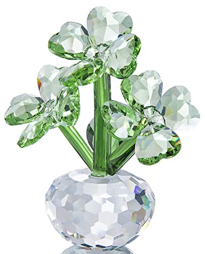 Qf Crystal Flower Dreams Four-Leaf Clover Figurine Collectibles Crystal Ornament