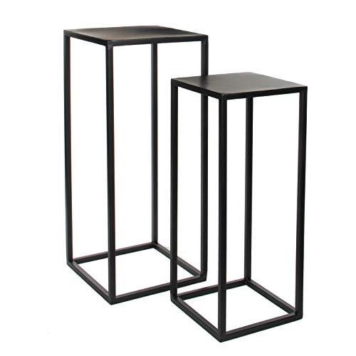 Mica Decorations Goa Lot de 2 tables d'appoint en métal noir 60 et 70 cm de haut Table basse Table gigogne Table de chevet