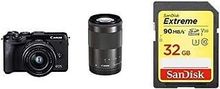 Canon キヤノン ミラーレス一眼 EOS M6 mark2 ダブルズームキット ブラック + Sandisk SDカードセット