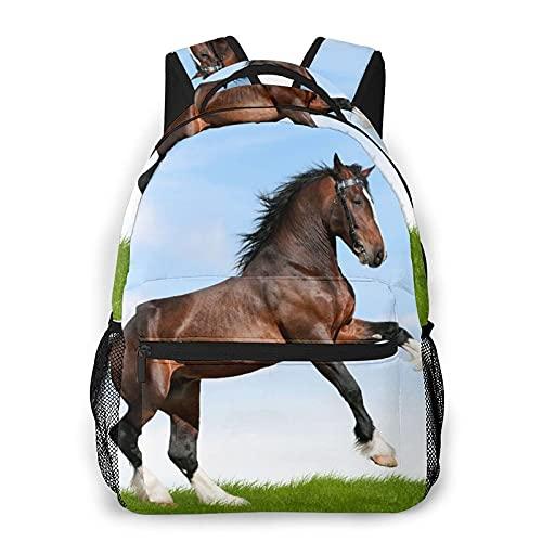 Mochila de ocio múltiple, Nature Horse Pacing On Grass Print, viaje deportivo Mochila escolar para adultos jóvenes Estudiantes universitarios Bolso de hombro de gran capacidad con bolsillos