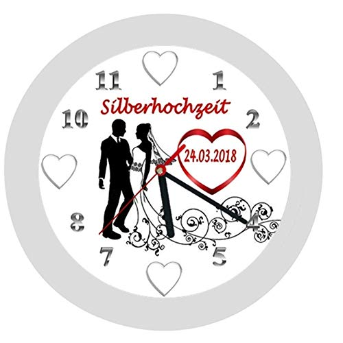 Wanduhr 11 -Geschenk-Brautpaar-Hochzeitstag-Hochzeitstaggeschenk-Ehe-Herzen-Silberhochzeit-personalisiert *KEIN TICKEN*