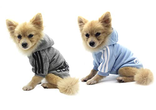 QiCheng&LYS Adidog Pet Clothes,Dog Winter Hoodies Apparel Puppy Cute Warm Hoodies Coat Sweater for Dog Cat (S, 2pcs Grey/Blue)
