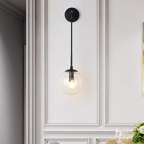 Applique da parete Vintage a 1 Luce con paralume in vetro sferico da 59'in Nero satinato illuminazione da comodino per Camera da letto adatta per soggiorno e corridoio del ristorante soppalco