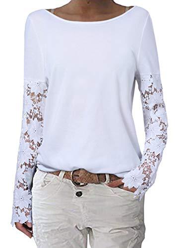 ZANZEA Mujer Camisetas Tallas Grandes Cuello Redondo Manga Larga Pullover Casual Tops Jersey Holgada Encaje Blanco M
