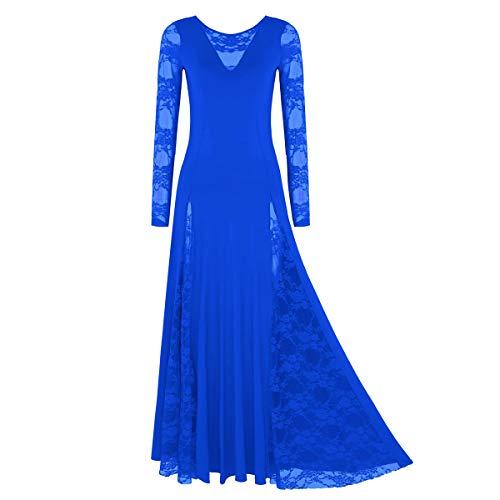 iiniim Vestidos de Danza Cristiana Flamenco Mujer con Falda Larga Disfraz Bailarina Actuación Fiesta Invierno Otoño Manga Larga Traje Litúrgico Combinación Azul Small